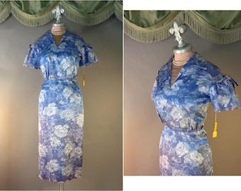 50s dress suit 1950s vintage BLUE ROSES PRINT new old stock w tags Paula Brooks 2pc hourglass dress set