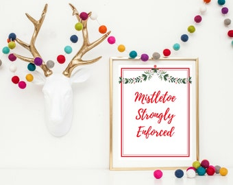 Christmas Wall Art Printable - Mistletoe Printable - Christmas Printable