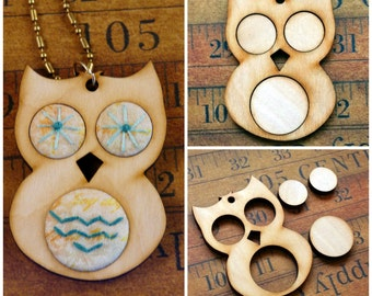 Wood OWL Pendant Embroidery Blank - Necklace Craft Supply Jewelry fabric