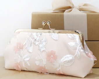 Blush Peach Ivory Floral Clutch | Hydrangeas wedding clutch, purse for Bride, Bridesmaid, Mothers
