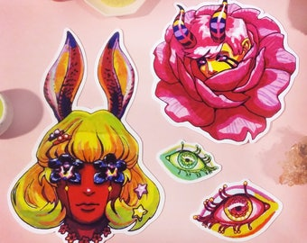 Nightmare girls sticker pack, psychedelic stickers, dark surrealism, trippy, glitch art, hallucination, acid trip, harajuku, magic eyes