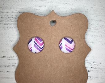 Purple earrings, button earrings