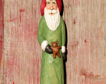 Carved Santa Wood Carving, Hand Carved Figure, Original Wooden Santa Collectible Sculpture, Santas For Sale, Christmas Red Green Art by Joan