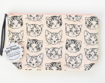 Cute Cats Medium Boxy Zipper Pouch   Original Fabric Design   Peach and Grey