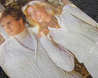 Kaiapoi Cable Jacket Knitting Pattern - 1970s Men's and Woman's Style