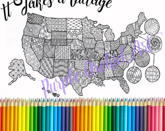 Printable Adoption Map,Adoption Family,Nursery Decor,Adoption Fundraising,Adopt a State,Coloring Page,Coloring Map,Map,Adult Coloring Page