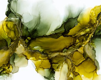 Olive and Green Abstract Alcohol Ink Painting, Modern Art, Abstract Art, Contemporary Art