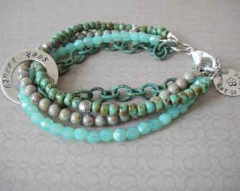 Bohemian hippie bracelet - turquoise green gypsy - multiple strands beaded bracelet - Seek beauty everyday