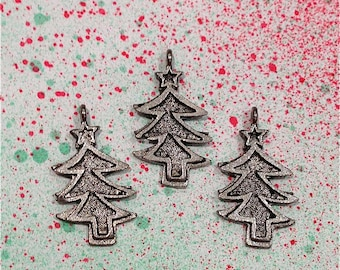 Christmas Tree Charms-4 pieces-(Antique Pewter Silver Finish)--style 1000-