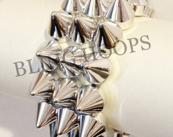 NEW Bling Hoops Silver Spike Stud Stretch Bracelet
