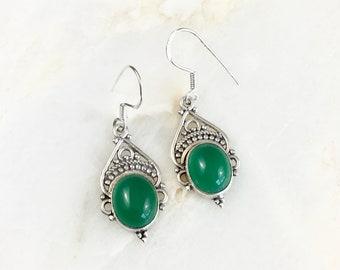 Vintage Sterling Green Stone Earrings