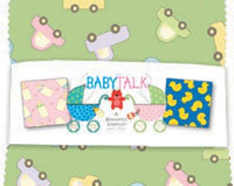 "SALE Baby Talk by Benartex - (42) 5"" x 5"" Charm Pack"