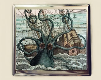 Kraken Cigarette Case Business Card ID Holder Wallet Squid Octopus Steampunk Nautical
