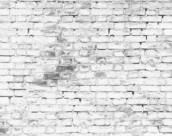 Grunge White Brick Photo Backdrop