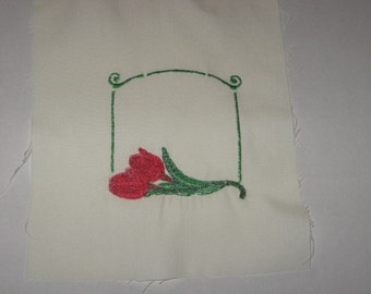 Red Tulips Quilt Label, Machine Embroiderd, Free Shipping in US only