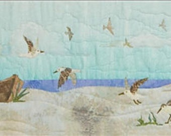 "Truly, McKenna Birds of a Feather Fabric Art Print Panel 33.5""W x 9.625""L Beach Walk Series"