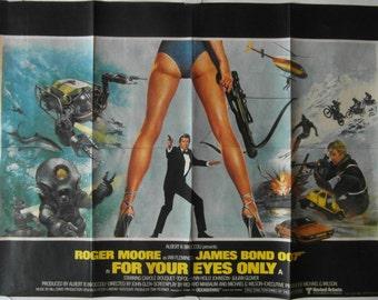 Original 1981 James Bond 'For Your Eyes Only' UK Quad Poster.