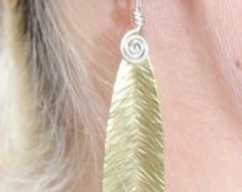 Hammered brass leaf earrings
