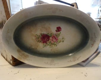 Vintage Shabby Cottage Chic Crazed Rose Platter