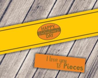 Mason Jar Printable Label / Happy Valentine's Day / Jar Label / Instant Download / I love you to Pieces / Valentine