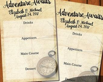 Adventure Awaits Menu Card / Wedding Menu Card / Digital File / Menu Card / Travel Menu Card / Vintage Menu Card / Flat Menu Card
