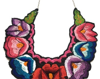 Colorful Flower Embroidered Statement Necklace