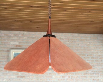 Vintage suede ceiling lamp by Dutch designer J.Berla