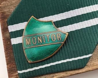 Green enamel pin, enamel pin, pin enamel, green lapel pin, green brooch, vintage pin badges, vintage school, vintage enamel pin, prefect pin