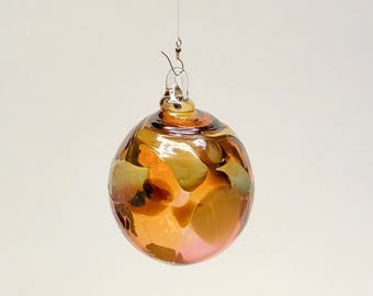 Hand Blown Glass Christmas Ornament (color name: Fossils)