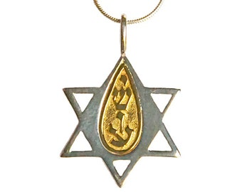 """Sterling silver & 14k gold """"Star of David"""" pendant with """"Yeshua"""" insert pendant- psg018"""