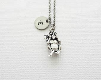 Hear No Evil Monkey Necklace, Orangutan Necklace, BFF, Best Friend, Silver Jewelry, Personalized, Monogram, Hand Stamped Letter Initial