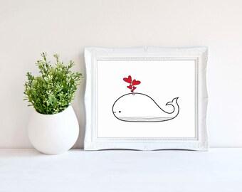 Nursery Print, Downloadable print, Love Whale, Love hearts, Wall art, Whale art, Wall decor