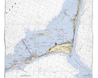 NC: Cape Hatteras, NC Nautical Chart Fleece Throw Blanket, Map Blanket