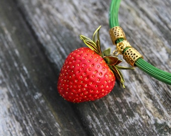 Necklace Strawberry jewellery Strawberry pendant Red necklace Real juicy strawberry Charm necklace Gift  Lady Blogger Design jewelry
