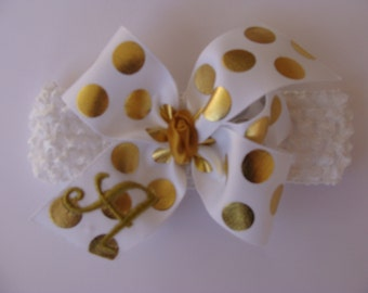 Any Letter Monogram, Initial Bow, Hair Bows, Foil Metallic, Gorgeous, Embroider Cute, Headband Idea, Birthday Girls, Gold Polka Dots, Gift
