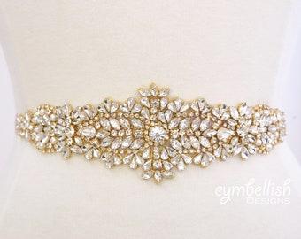 Gold Bridal Belt- Gold Rhinestone Sash-Rhinestone Belts and sashes- Bridesmaids belt- blush wedding belt champagne bridal -B028