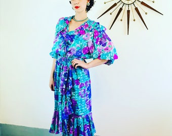 DIANE FREIS, I Magnin dress, 80s Floral Dress, Vintage 1980s dress, Aqua Pink Green, Bright Colorful, Flowy Ruffle Dress, Gypsy Boho dress