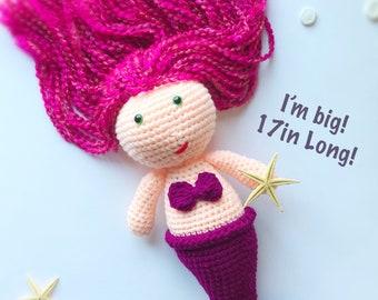 Mermaid Doll| Crochet Mermaid| Mermaid| Mermaid Plush| Mermaid Toy| Mermaid Plush| Mermaid Doll Baby| Handmade Mermaid Doll| Mermaid Nursery