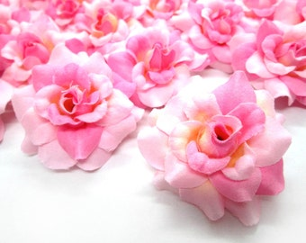 24 Two-tone Light Pink mini Roses Heads - Artificial Silk Flower - 1.75 inches - Wholesale Lot - for Wedding Work, Make clips, headbands