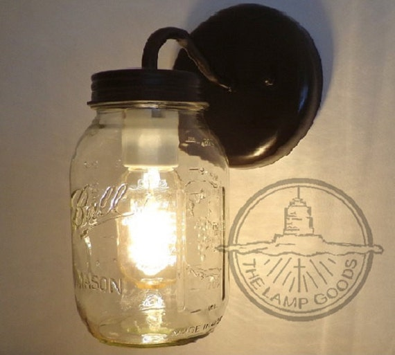 Mason Jar Wall SCONCE Lighting Fixture New Quart Farmhouse