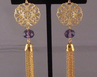 Filigree with crystal and tassel earrings
