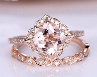 7mm Cushion Morganite Engagement Ring Rose Gold Vintage Floral Halo Art Deco Diamond Wedding Band 2PCS Bridal Set Marquise Wedding Ring Set
