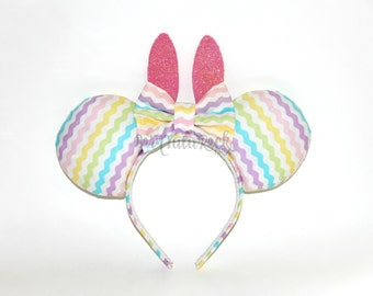 Bunny Mouse Ears // Easter Egg Mouse Ears // by Born Tutu Rock