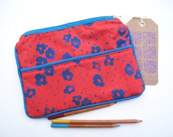 Floral Block Printed on Orange Cotton with Blue Contrast Piping Zipper Bag