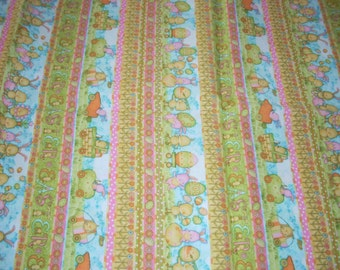 "Easter Print cotton Fabric -bunnies + chicks in stripes with eggs, baskets, flowers - 38 inches long by 43"" wide"