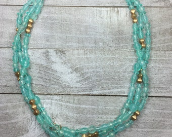 Aqua And Gold Necklace - Teal Beaded Necklace - Small Statement Necklace - Water Color Necklace