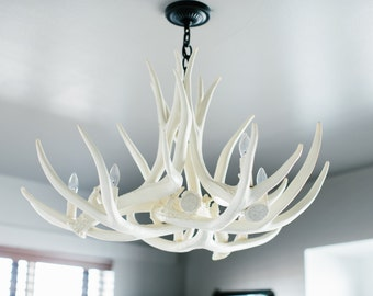 Antler chandelier hand crafted using naturally shed rustic white antler chandelier d6 faux antler chandelier antler chandelier mozeypictures Image collections