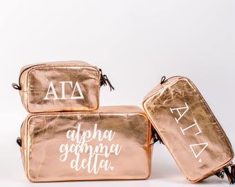 Alpha Gamma Delta Cosmetic Bag Set / AGD Travel Bag / Sorority Cosmetic Bag Set of 3 / Alpha Gam Sorority Makeup Bag / Pencil Bag / Bid Day