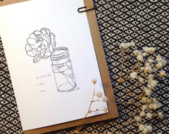 I Blooming Love You Botanical Card - Peony Line Drawing
