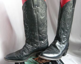 All Leather Black Western Boots JUSTIN / Ladies Size 9 narrow Eur 40 UK 6 .5  / Cowboy Mens sz 7 .5 B / Fancy Flame Stitched USA